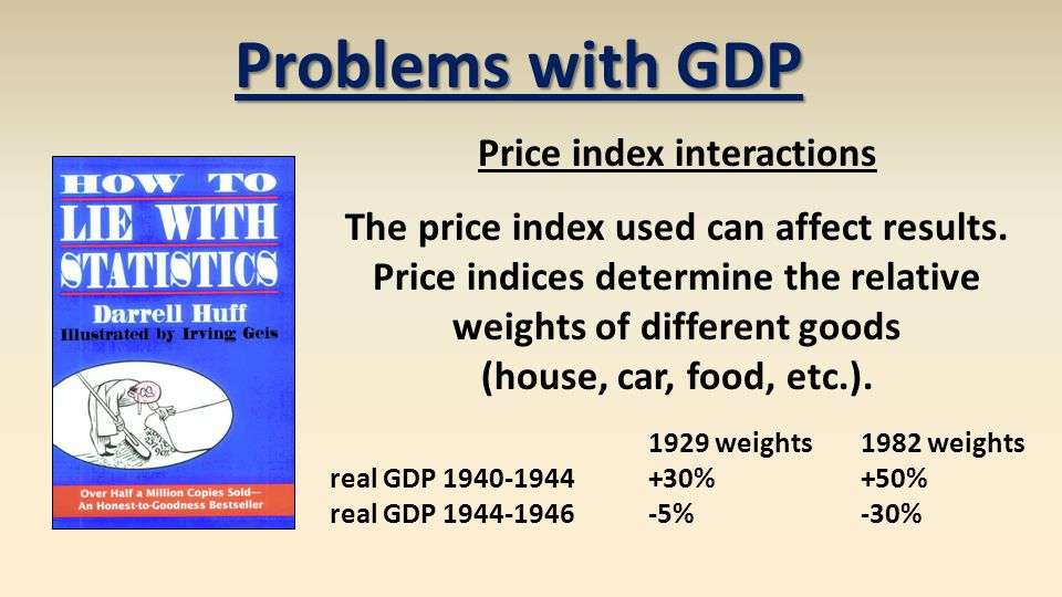 Problems with GDP Price index interactions The price index used can affect results.