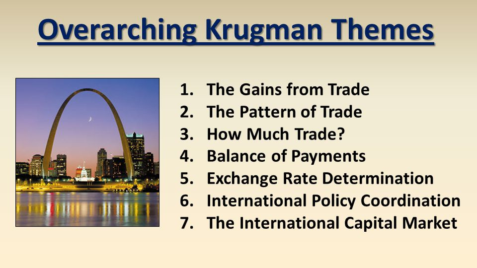 Overarching Krugman Themes 1.The Gains from Trade 2.The Pattern of Trade 3.How Much Trade.