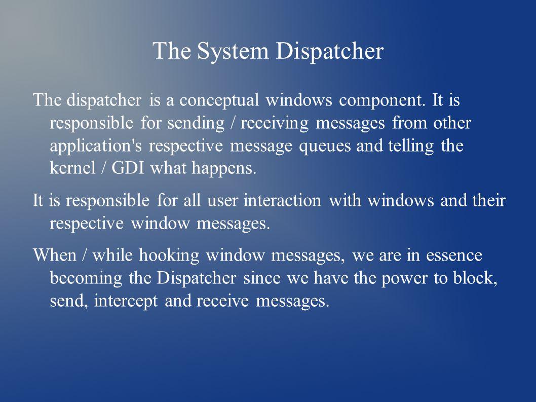 The System Dispatcher The dispatcher is a conceptual windows component.