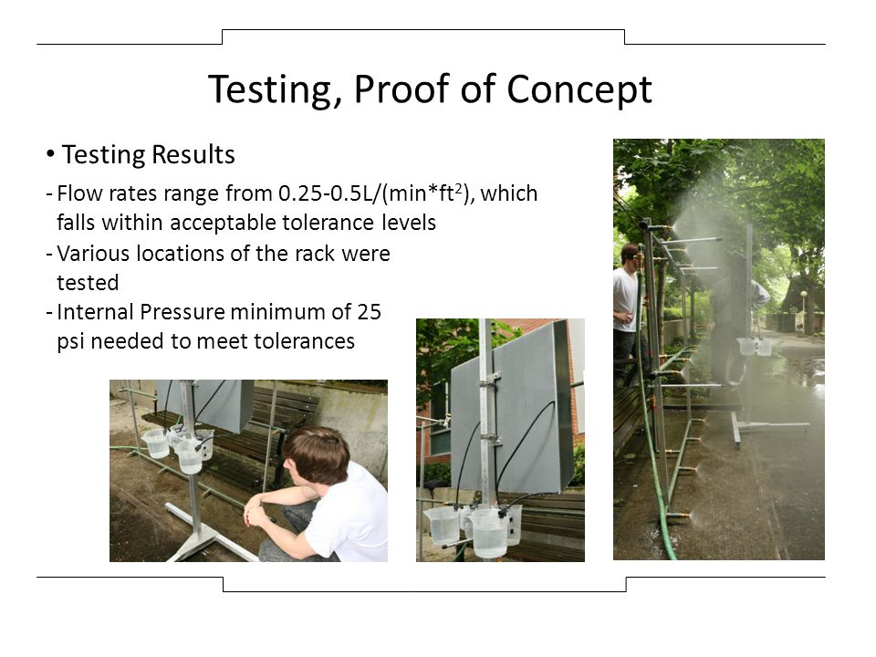 Testing, Proof of Concept Testing Results -Flow rates range from 0.25-0.5L/(min*ft 2 ), which falls within acceptable tolerance levels -Various locati