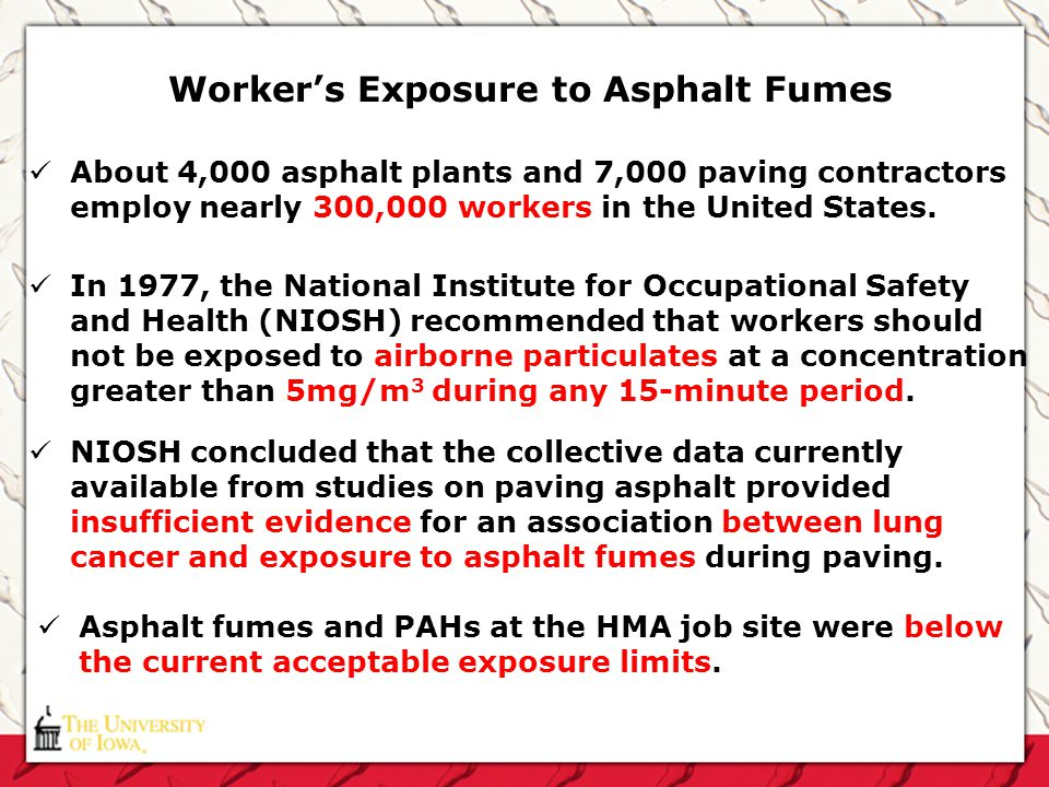 Workers Exposure to Asphalt Fumes About 4,000 asphalt plants and 7,000 paving contractors employ nearly 300,000 workers in the United States. In 1977,