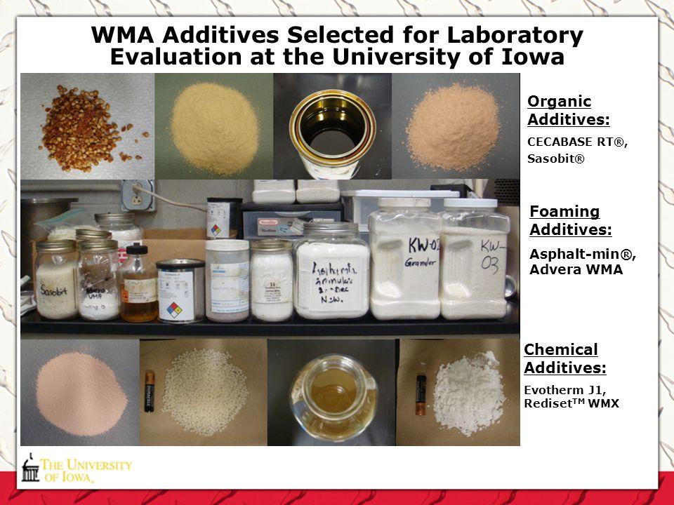 WMA Additives Selected for Laboratory Evaluation at the University of Iowa Organic Additives: CECABASE RT®, Sasobit® Foaming Additives: Asphalt-min®,