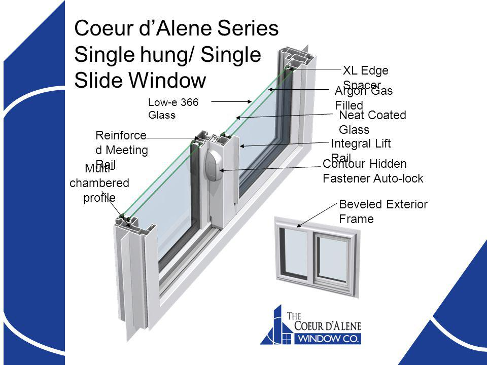 Coeur dAlene Series Single hung/ Single Slide Window XL Edge Spacer Neat Coated Glass Reinforce d Meeting Rail Contour Hidden Fastener Auto-lock Integral Lift Rail Argon Gas Filled Low-e 366 Glass Multi- chambered profile Beveled Exterior Frame