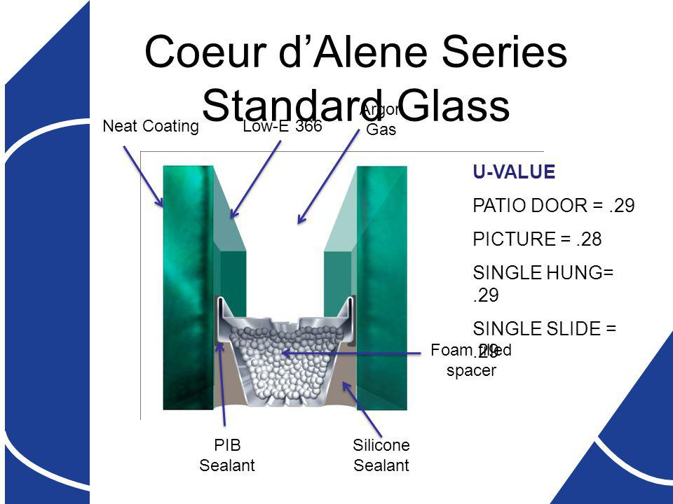 Coeur dAlene Series Standard Glass Neat CoatingLow-E 366 Foam filled spacer Silicone Sealant PIB Sealant Argon Gas U-VALUE PATIO DOOR =.29 PICTURE =.28 SINGLE HUNG=.29 SINGLE SLIDE =.29