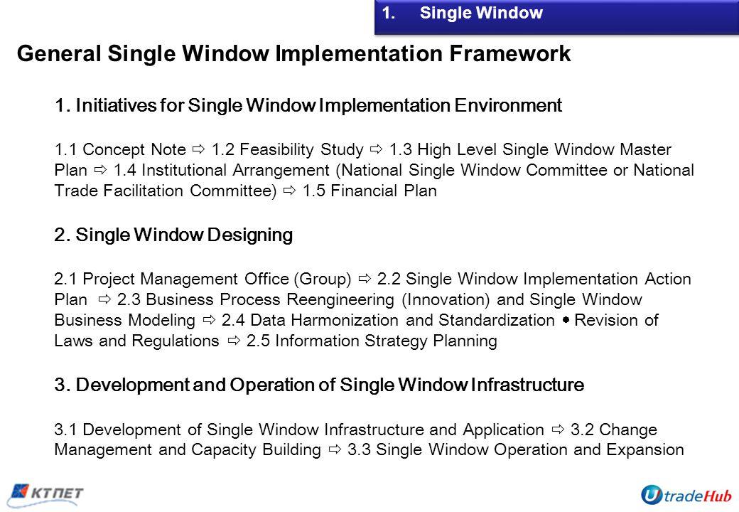 General Single Window Implementation Framework 1.Single Window 1. Initiatives for Single Window Implementation Environment 1.1 Concept Note 1.2 Feasib