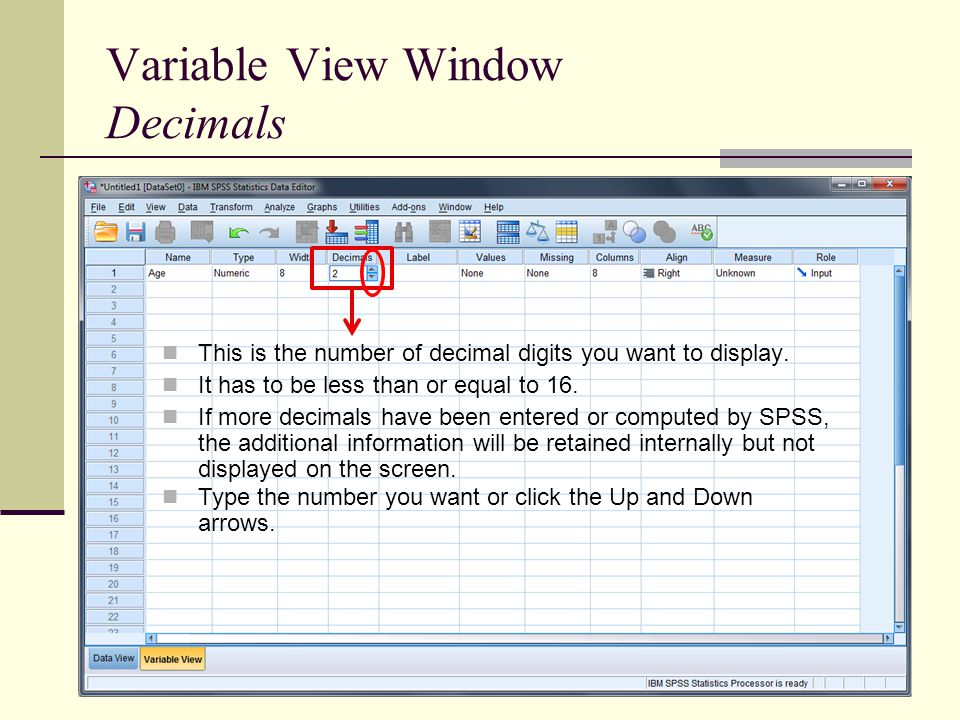 Variable View Window Decimals This is the number of decimal digits you want to display.