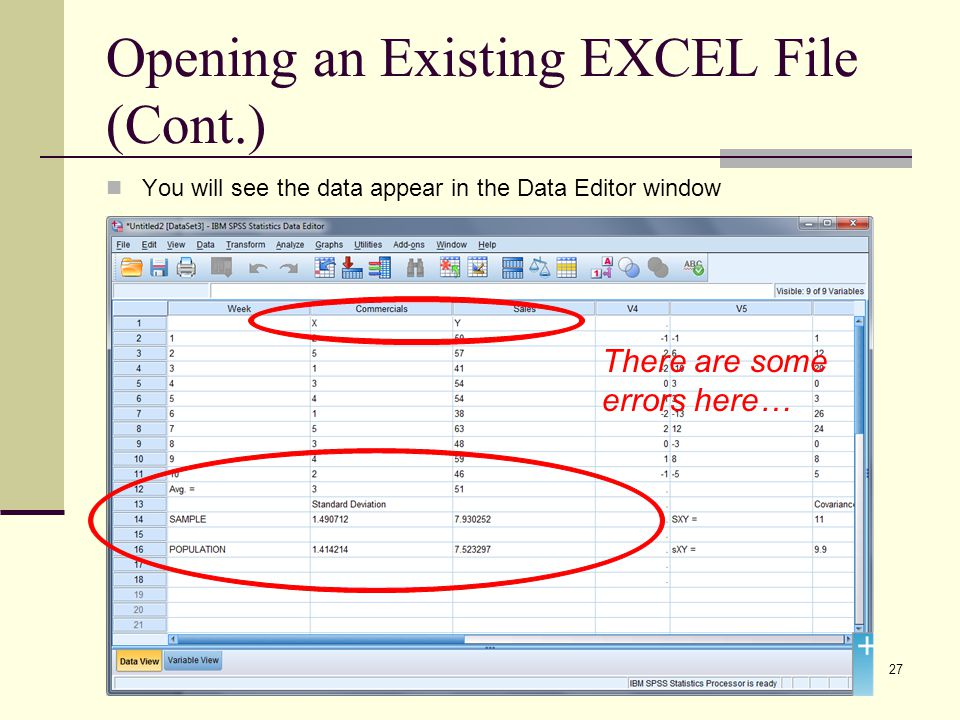 Opening an Existing EXCEL File (Cont.) You will see the data appear in the Data Editor window 27 There are some errors here…