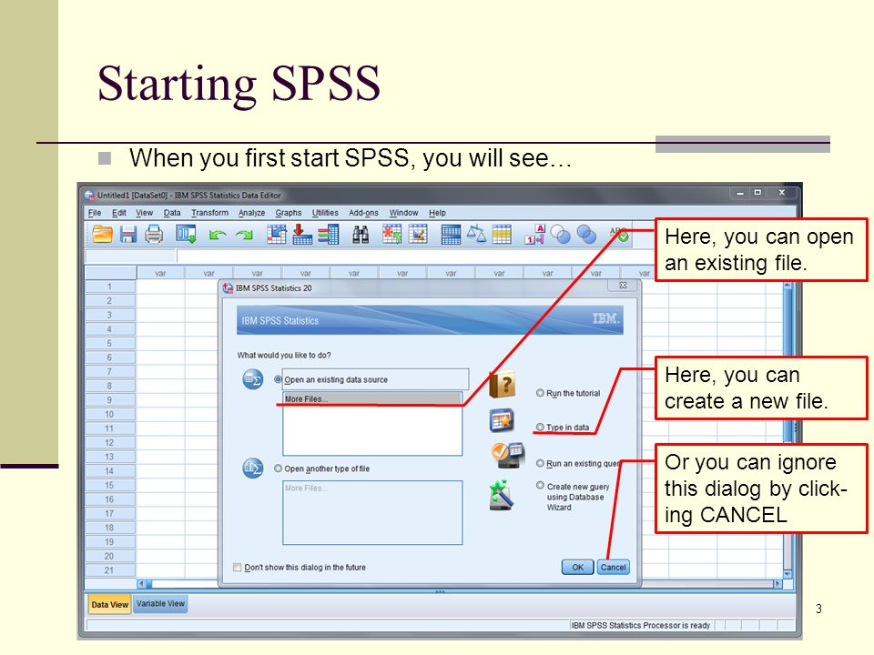Starting SPSS When you first start SPSS, you will see… 3 Here, you can open an existing file.