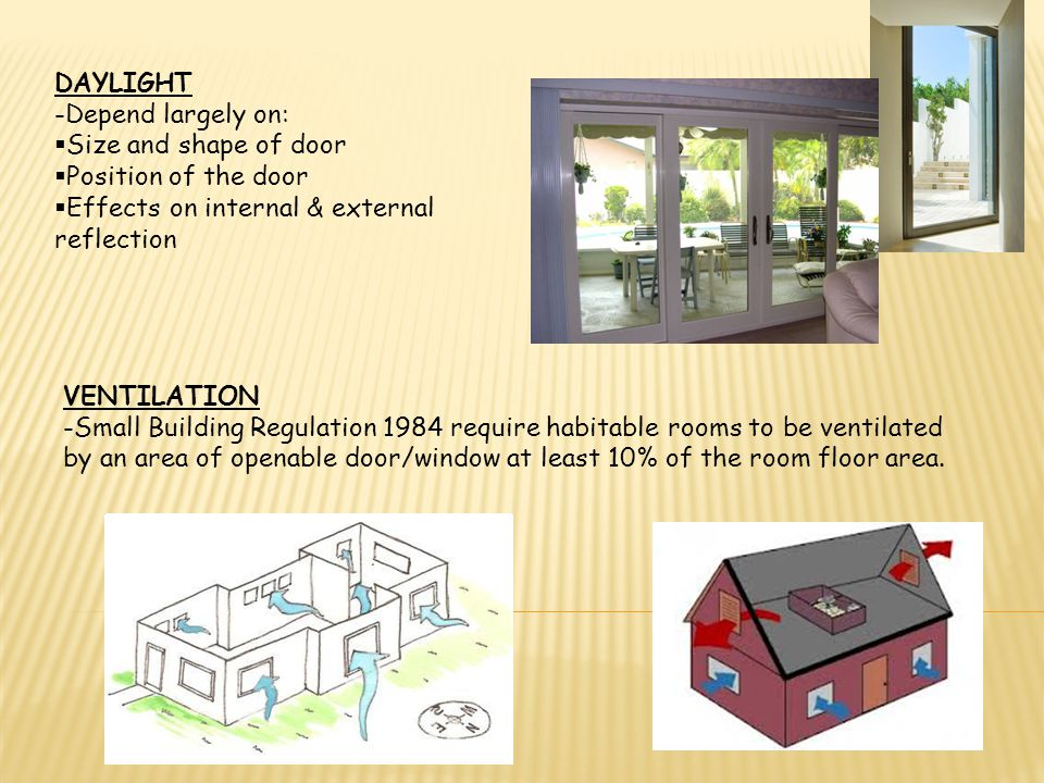 VENTILATION May be achieved by use of openable windows THERMAL & SOUND INSULATION Windows are the weak link in the ability of an external wall to provide good thermal & sound insulation.