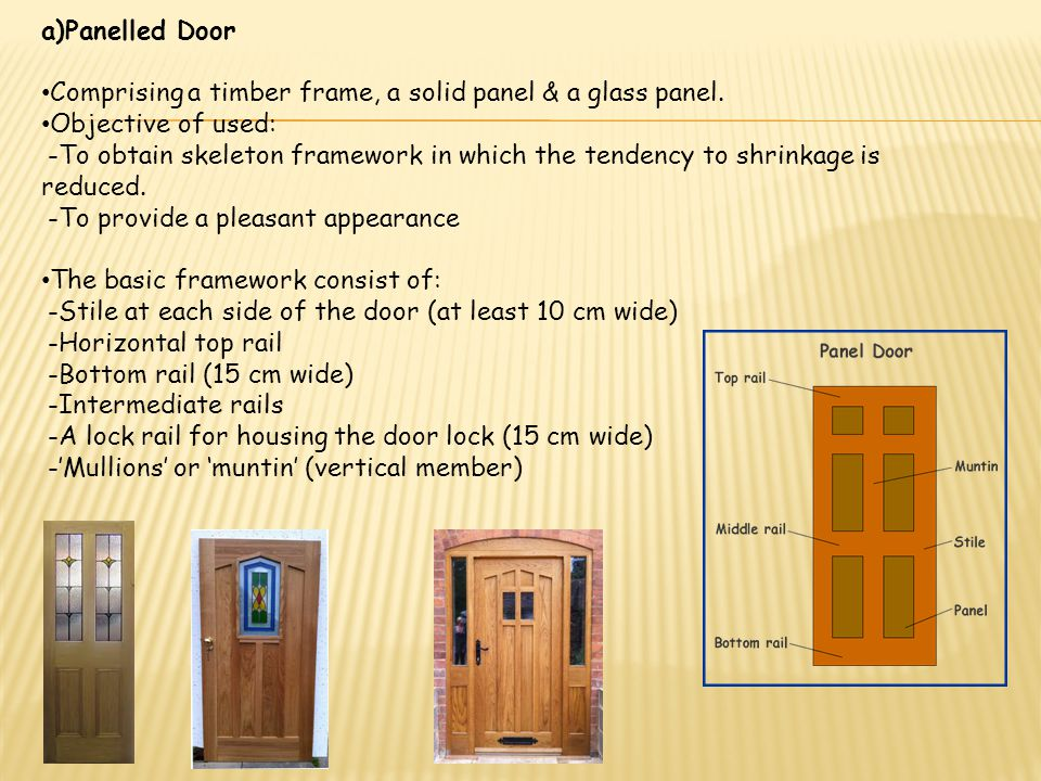 b)Flush Door Have flat front & back surfaces made of materials such as: -Plywood -Hardboard -Laminated plastics Provides a clean surface & extensively used these days.