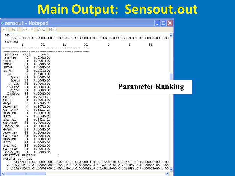 Main Output: Sensout.out Parameter Ranking