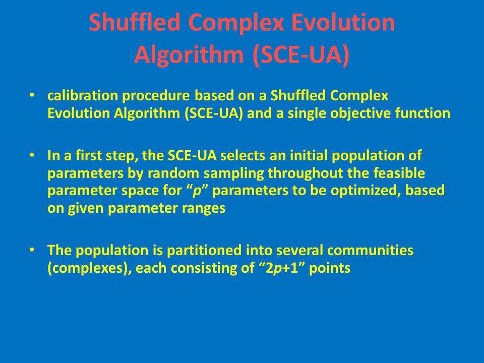 Shuffled Complex Evolution Algorithm (SCE-UA) calibration procedure based on a Shuffled Complex Evolution Algorithm (SCE-UA) and a single objective fu