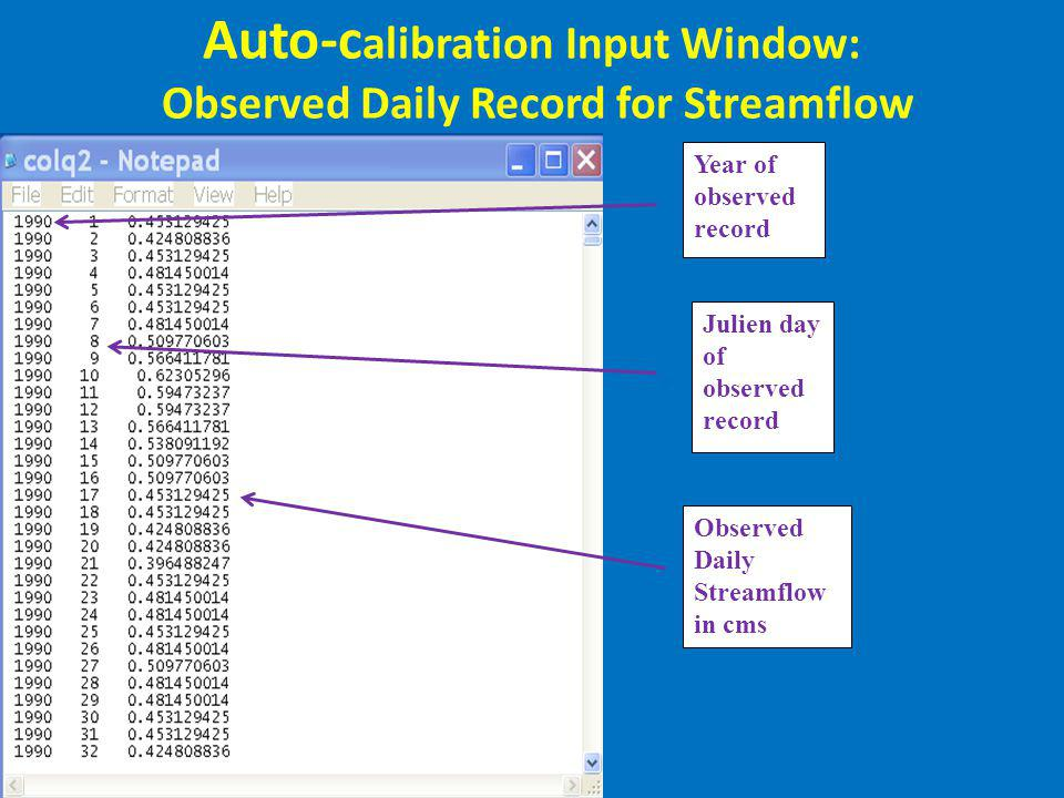 Auto-c alibration Input Window: Observed Daily Record for Streamflow Year of observed record Observed Daily Streamflow in cms Julien day of observed r