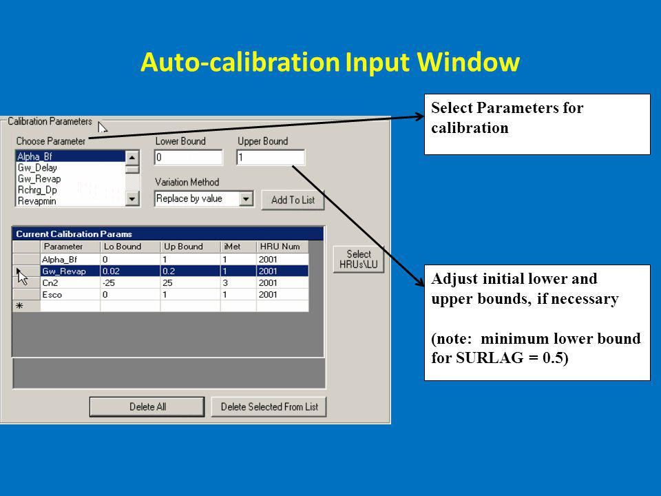 Auto-calibration Input Window Select Parameters for calibration Adjust initial lower and upper bounds, if necessary (note: minimum lower bound for SUR