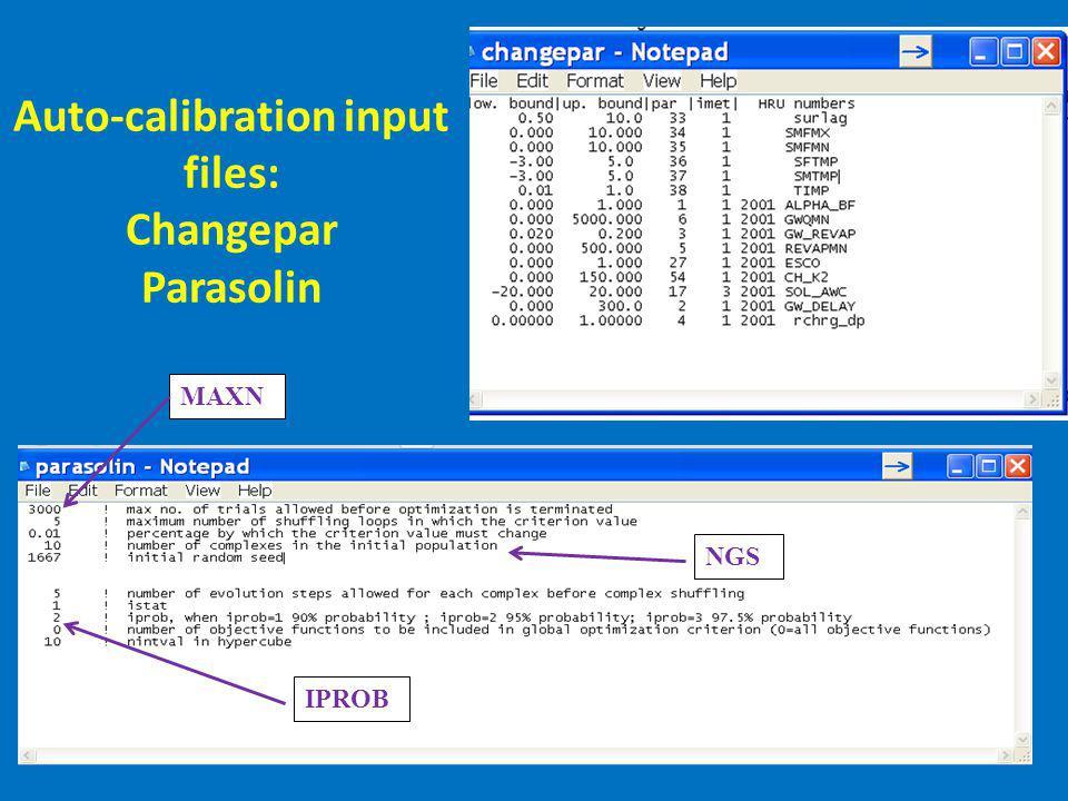 Auto-calibration input files: Changepar Parasolin MAXN IPROB NGS