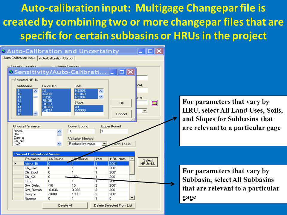 Auto-calibration input: Multigage Changepar file is created by combining two or more changepar files that are specific for certain subbasins or HRUs i