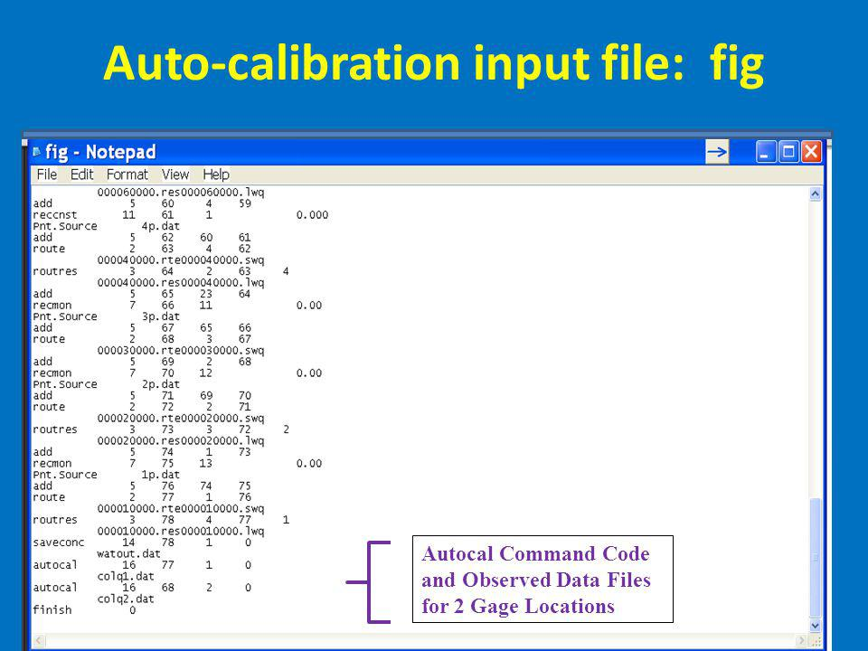 Auto-calibration input file: fig Autocal Command Code and Observed Data Files for 2 Gage Locations