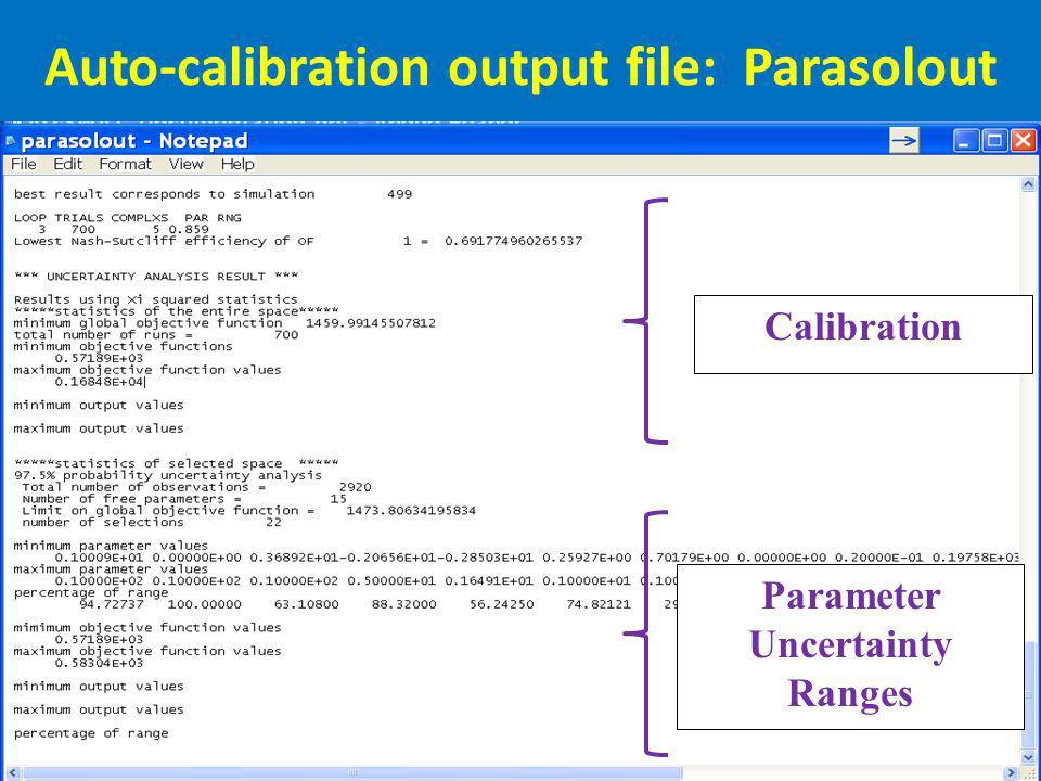 Auto-calibration output file: Parasolout Parameter Uncertainty Ranges Calibration