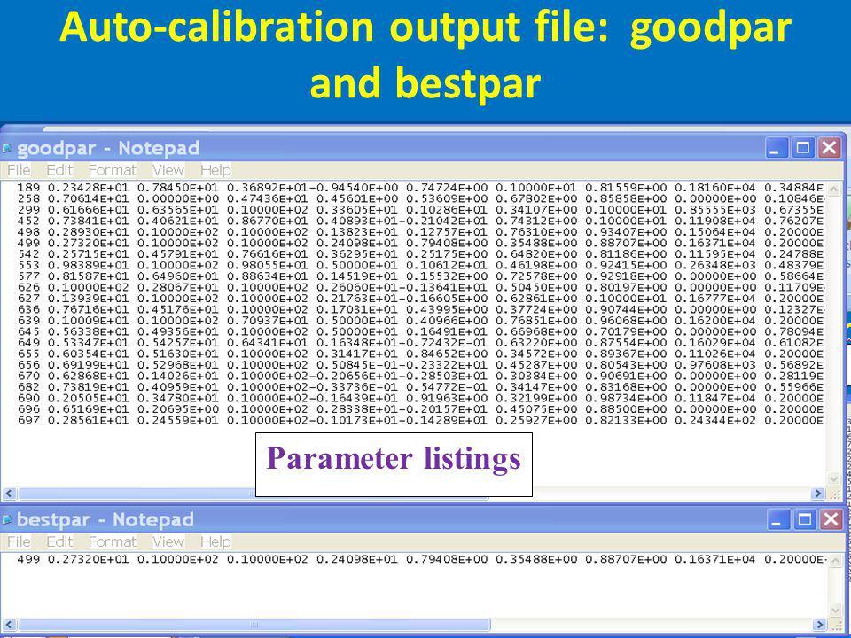 Auto-calibration output file: goodpar and bestpar Calibration Parameter listings