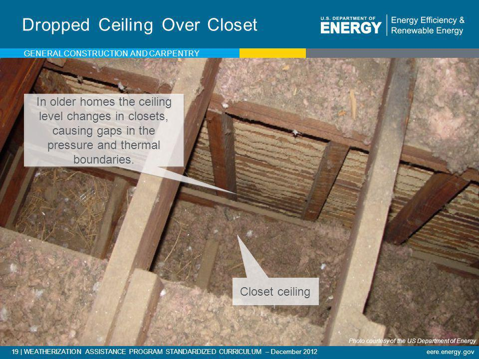 19   WEATHERIZATION ASSISTANCE PROGRAM STANDARDIZED CURRICULUM – December 2012eere.energy.gov Dropped Ceiling Over Closet In older homes the ceiling l