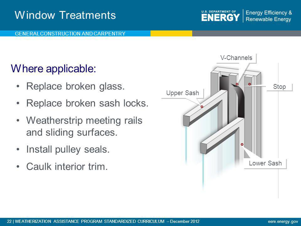 22   WEATHERIZATION ASSISTANCE PROGRAM STANDARDIZED CURRICULUM – December 2012eere.energy.gov Window Treatments Where applicable: Replace broken glass