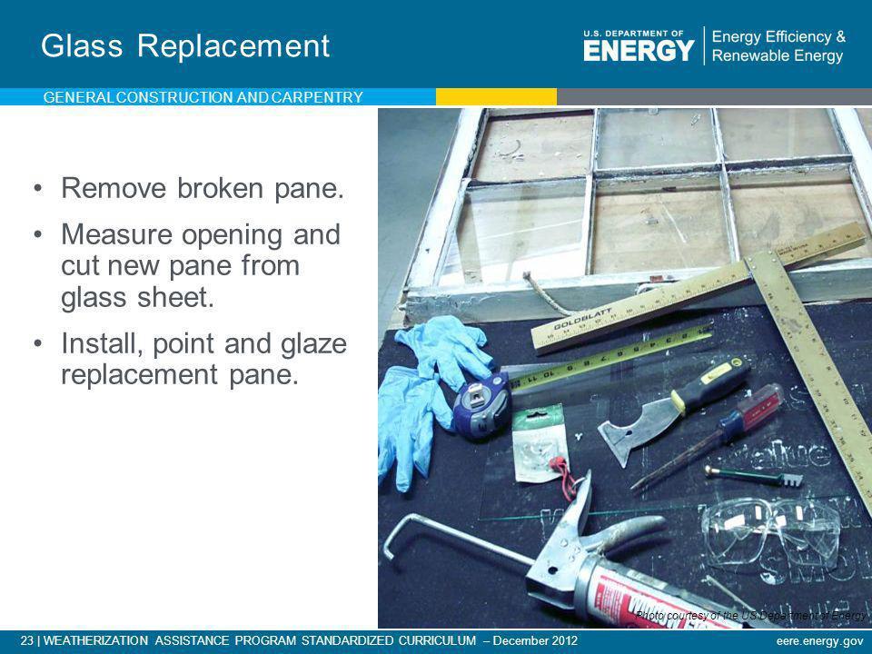 23   WEATHERIZATION ASSISTANCE PROGRAM STANDARDIZED CURRICULUM – December 2012eere.energy.gov Glass Replacement Remove broken pane. Measure opening an