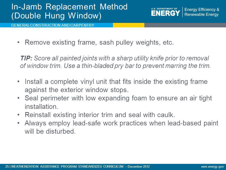 25   WEATHERIZATION ASSISTANCE PROGRAM STANDARDIZED CURRICULUM – December 2012eere.energy.gov In-Jamb Replacement Method (Double Hung Window) Remove e