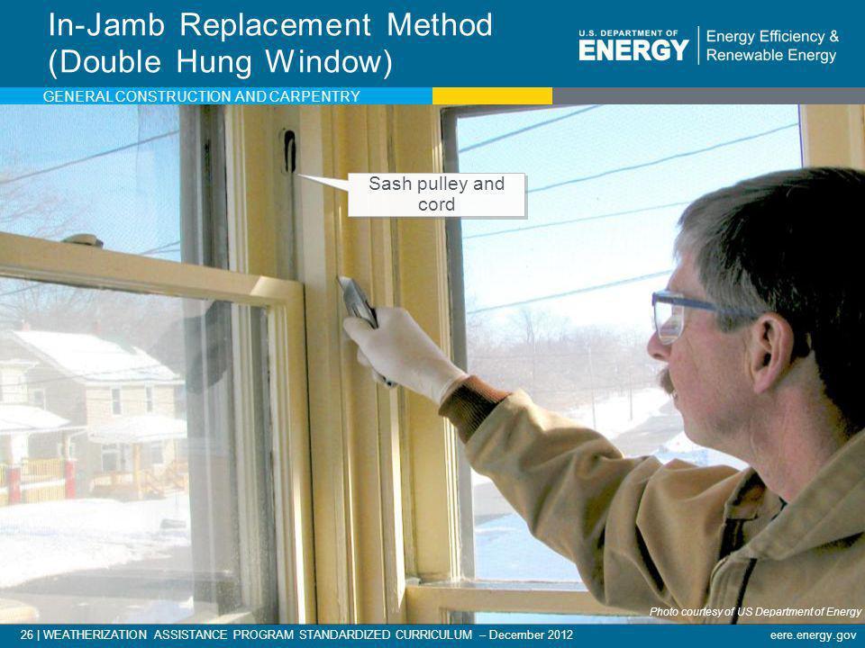 26   WEATHERIZATION ASSISTANCE PROGRAM STANDARDIZED CURRICULUM – December 2012eere.energy.gov In-Jamb Replacement Method (Double Hung Window) Photo co