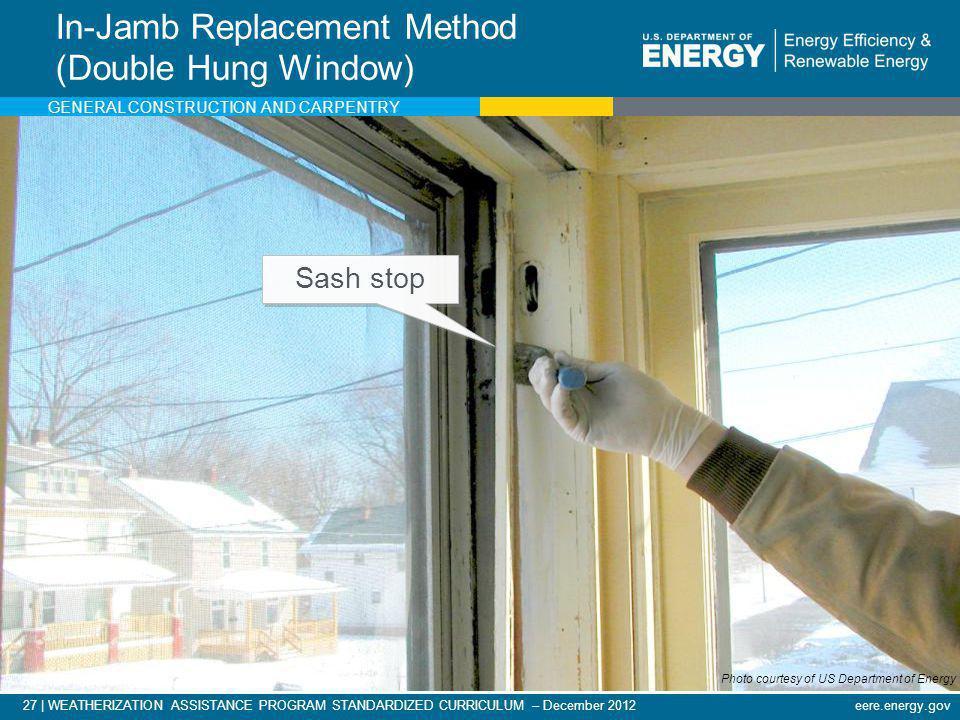 27   WEATHERIZATION ASSISTANCE PROGRAM STANDARDIZED CURRICULUM – December 2012eere.energy.gov In-Jamb Replacement Method (Double Hung Window) Photo co