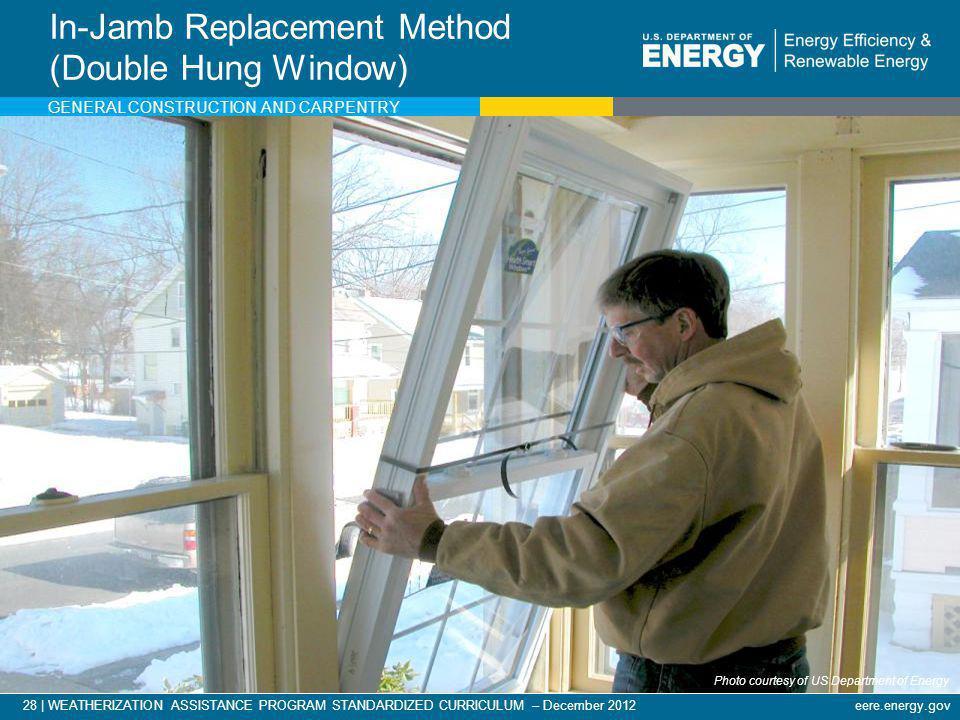 28   WEATHERIZATION ASSISTANCE PROGRAM STANDARDIZED CURRICULUM – December 2012eere.energy.gov In-Jamb Replacement Method (Double Hung Window) Photo co