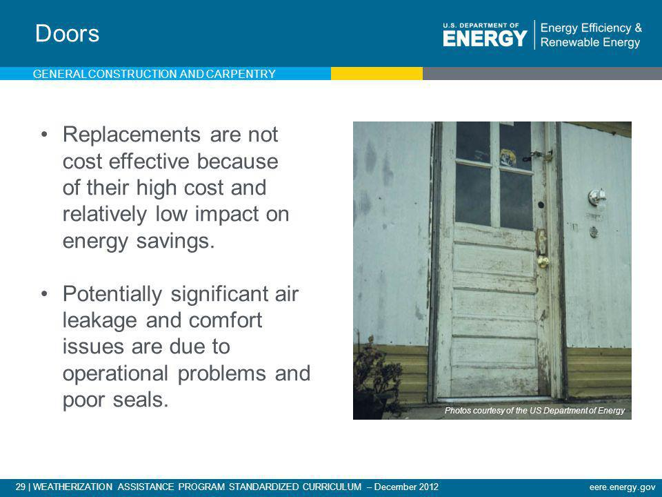 29   WEATHERIZATION ASSISTANCE PROGRAM STANDARDIZED CURRICULUM – December 2012eere.energy.gov Doors Replacements are not cost effective because of the