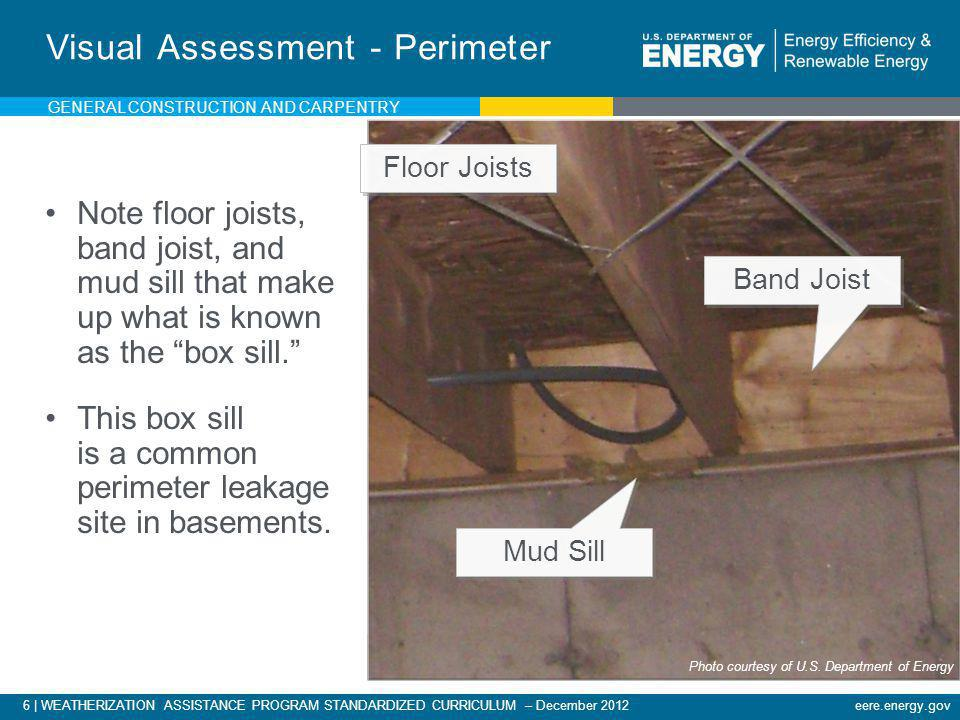 6   WEATHERIZATION ASSISTANCE PROGRAM STANDARDIZED CURRICULUM – December 2012eere.energy.gov Visual Assessment - Perimeter Note floor joists, band joi