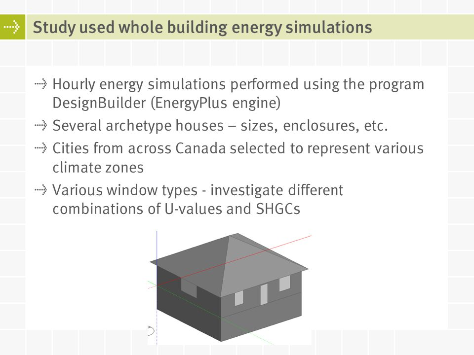 Hourly energy simulations performed using the program DesignBuilder (EnergyPlus engine) Several archetype houses – sizes, enclosures, etc. Cities from