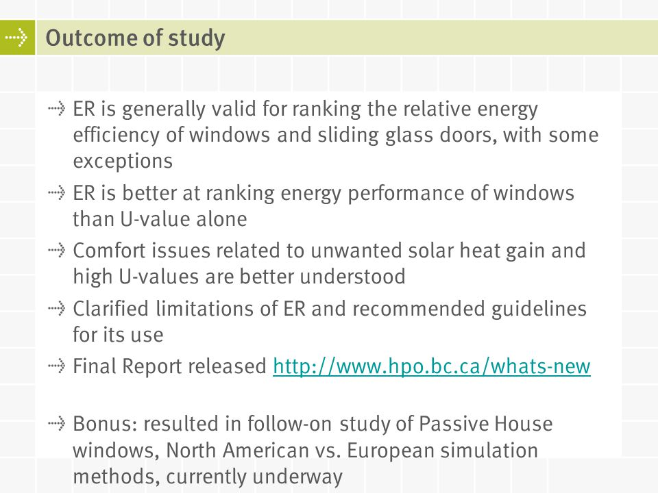ER is generally valid for ranking the relative energy efficiency of windows and sliding glass doors, with some exceptions ER is better at ranking ener