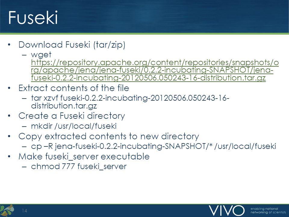 Fuseki Download Fuseki (tar/zip) – wget https://repository.apache.org/content/repositories/snapshots/o rg/apache/jena/jena-fuseki/0.2.2-incubating-SNA