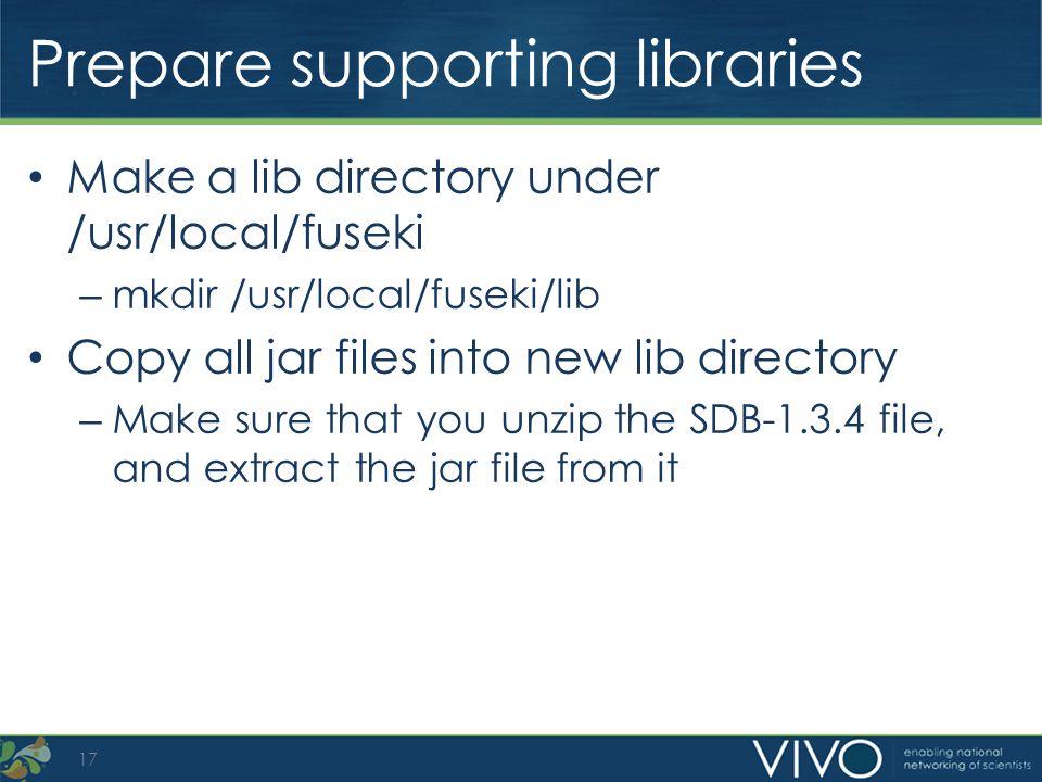 Prepare supporting libraries Make a lib directory under /usr/local/fuseki – mkdir /usr/local/fuseki/lib Copy all jar files into new lib directory – Ma