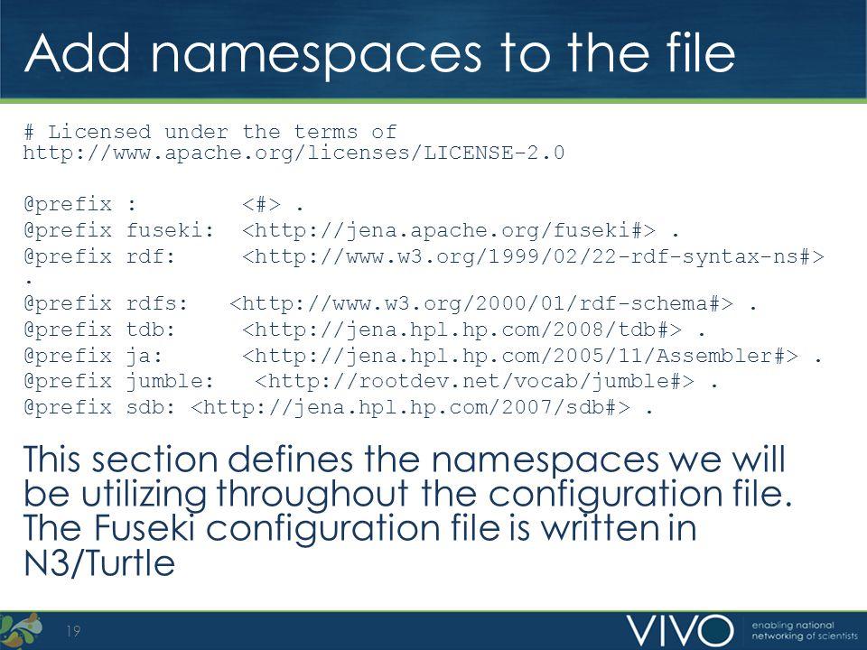 Add namespaces to the file # Licensed under the terms of http://www.apache.org/licenses/LICENSE-2.0 @prefix :. @prefix fuseki:. @prefix rdf:. @prefix