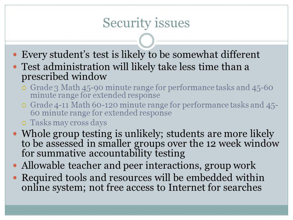Security issues Every students test is likely to be somewhat different Test administration will likely take less time than a prescribed window Grade 3 Math 45-90 minute range for performance tasks and 45-60 minute range for extended response Grade 4-11 Math 60-120 minute range for performance tasks and 45- 60 minute range for extended response Tasks may cross days Whole group testing is unlikely; students are more likely to be assessed in smaller groups over the 12 week window for summative accountability testing Allowable teacher and peer interactions, group work Required tools and resources will be embedded within online system; not free access to Internet for searches