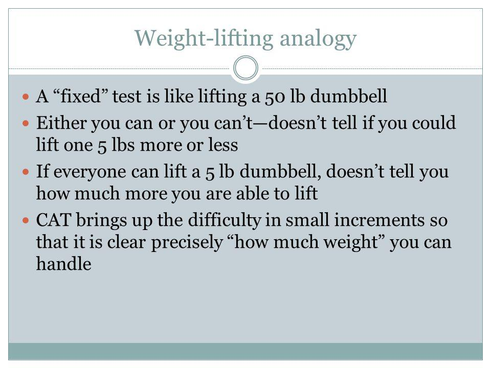 Weight-lifting analogy A fixed test is like lifting a 50 lb dumbbell Either you can or you cantdoesnt tell if you could lift one 5 lbs more or less If everyone can lift a 5 lb dumbbell, doesnt tell you how much more you are able to lift CAT brings up the difficulty in small increments so that it is clear precisely how much weight you can handle