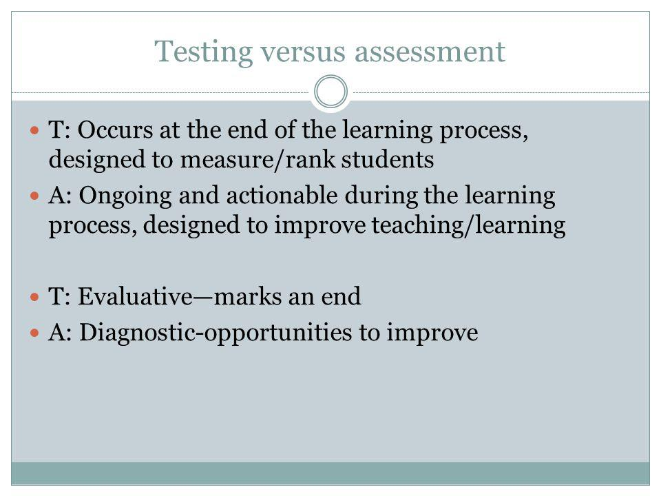 Testing versus assessment T: Occurs at the end of the learning process, designed to measure/rank students A: Ongoing and actionable during the learning process, designed to improve teaching/learning T: Evaluativemarks an end A: Diagnostic-opportunities to improve