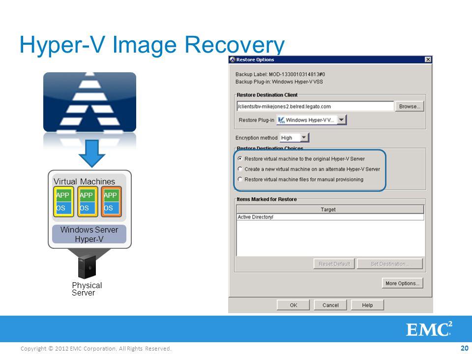 Copyright © 2012 EMC Corporation. All Rights Reserved. 20 Hyper-V Image Recovery Physical Server Virtual Machines APP OS APP OS APP OS Windows Server