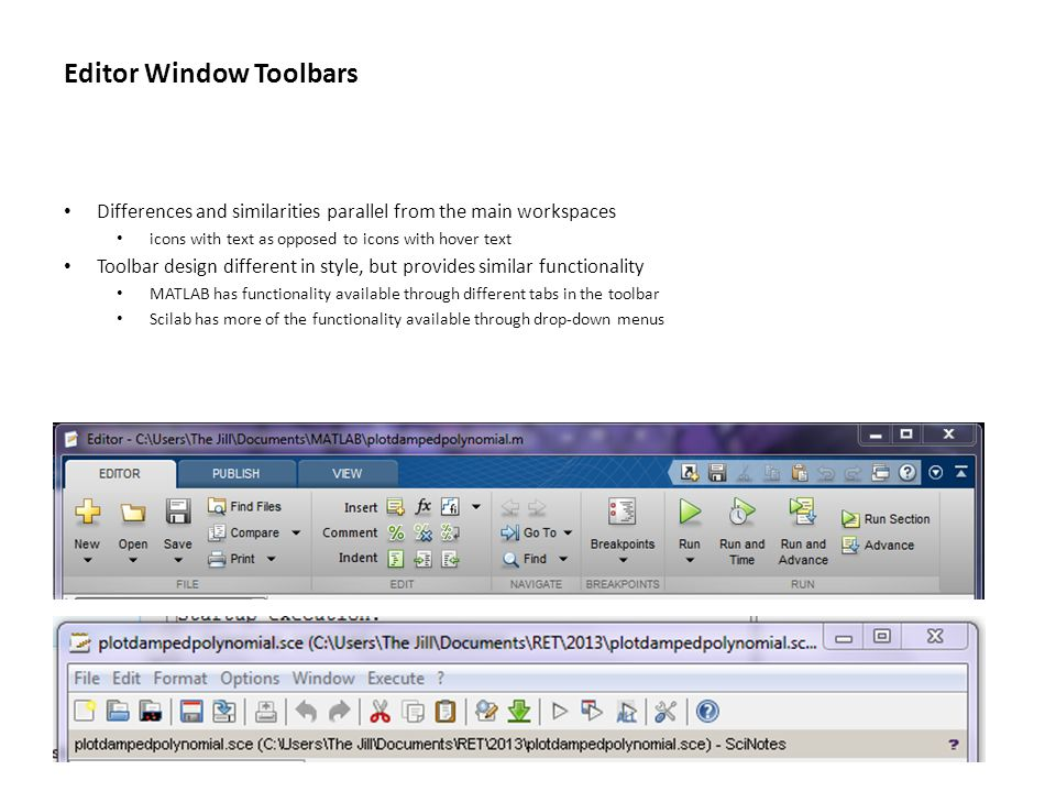 Editor Window Toolbars Differences and similarities parallel from the main workspaces icons with text as opposed to icons with hover text Toolbar desi