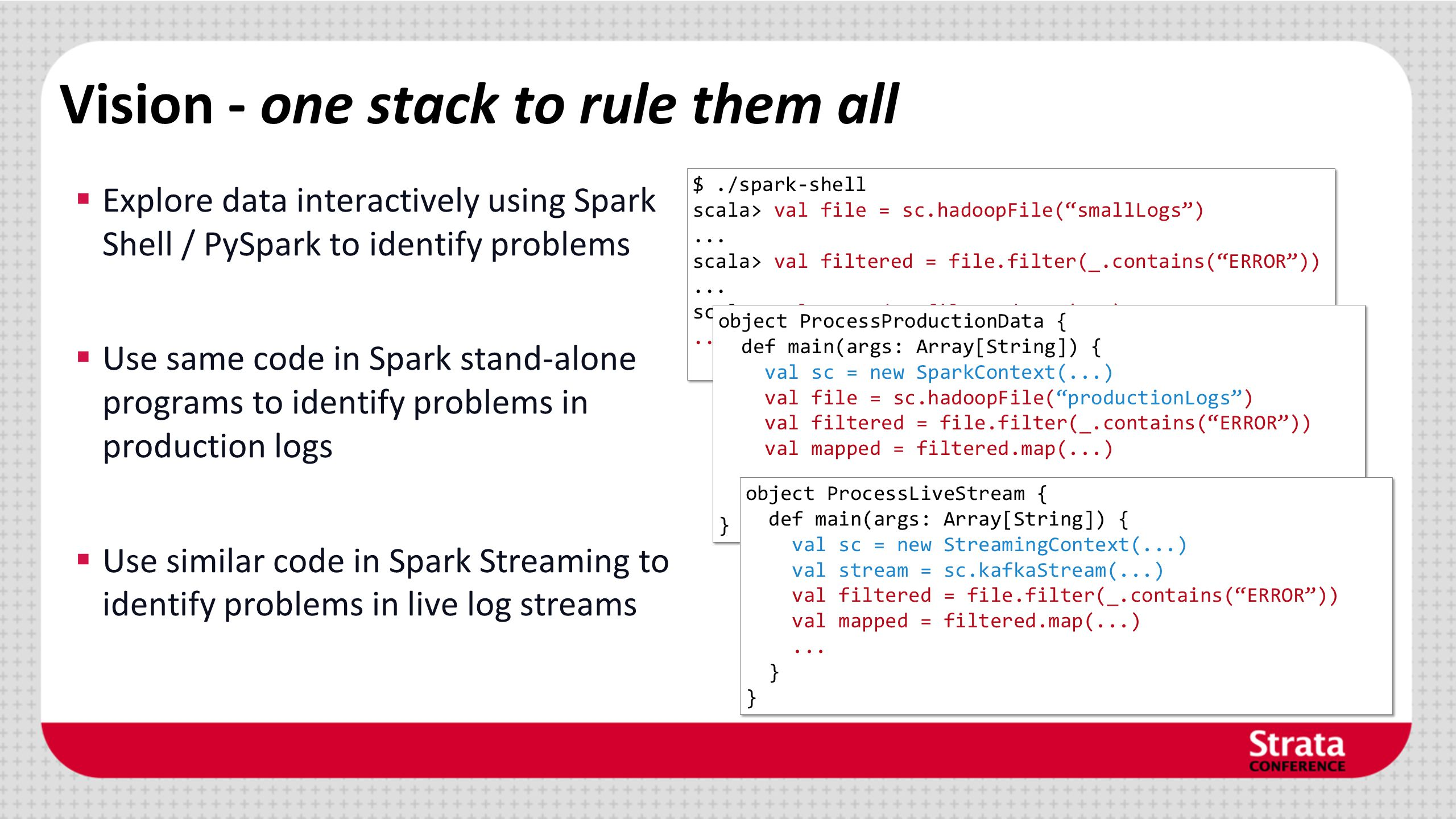 Vision - one stack to rule them all Explore data interactively using Spark Shell / PySpark to identify problems Use same code in Spark stand-alone pro