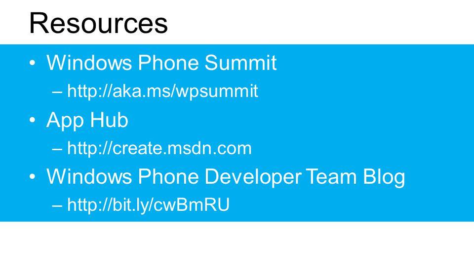 Resources Windows Phone Summit –http://aka.ms/wpsummit App Hub –http://create.msdn.com Windows Phone Developer Team Blog –http://bit.ly/cwBmRU