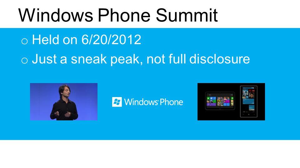 o Held on 6/20/2012 o Just a sneak peak, not full disclosure