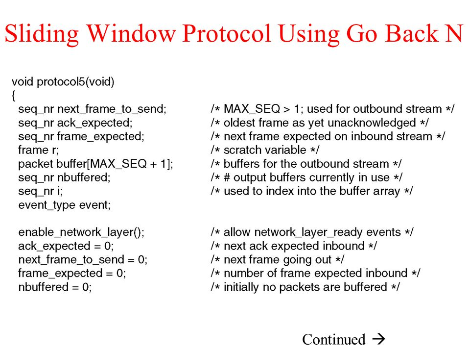 Sliding Window Protocol Using Go Back N Continued