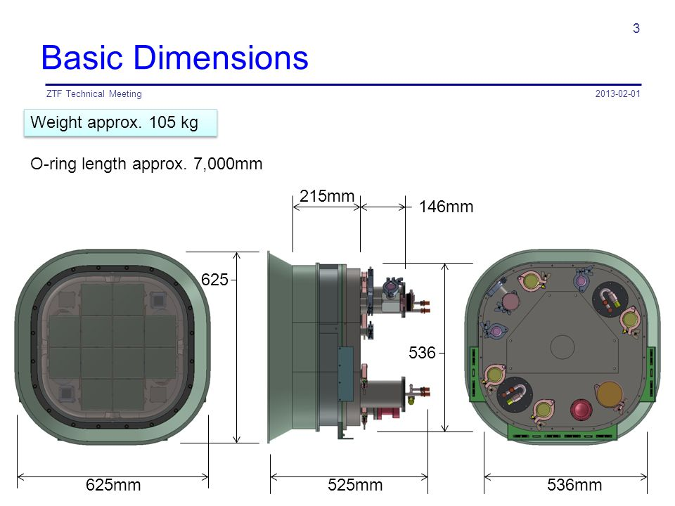 Basic Dimensions 2013-02-01ZTF Technical Meeting 3 525mm 146mm 215mm 536 536mm625mm 625 Weight approx. 105 kg O-ring length approx. 7,000mm