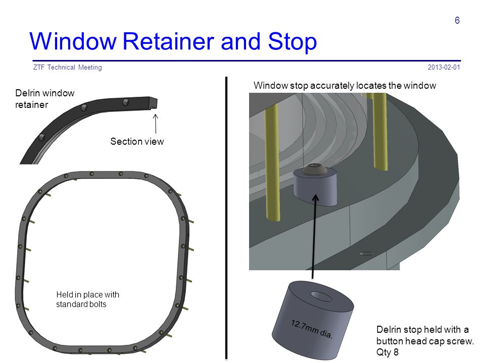 Window Retainer and Stop 2013-02-01ZTF Technical Meeting 6 Delrin window retainer Section view Delrin stop held with a button head cap screw. Qty 8 He