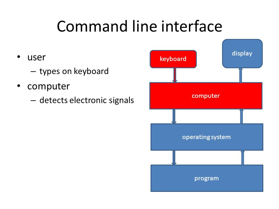 Command line interface user – types on keyboard computer – detects electronic signals display keyboard computer operating system program