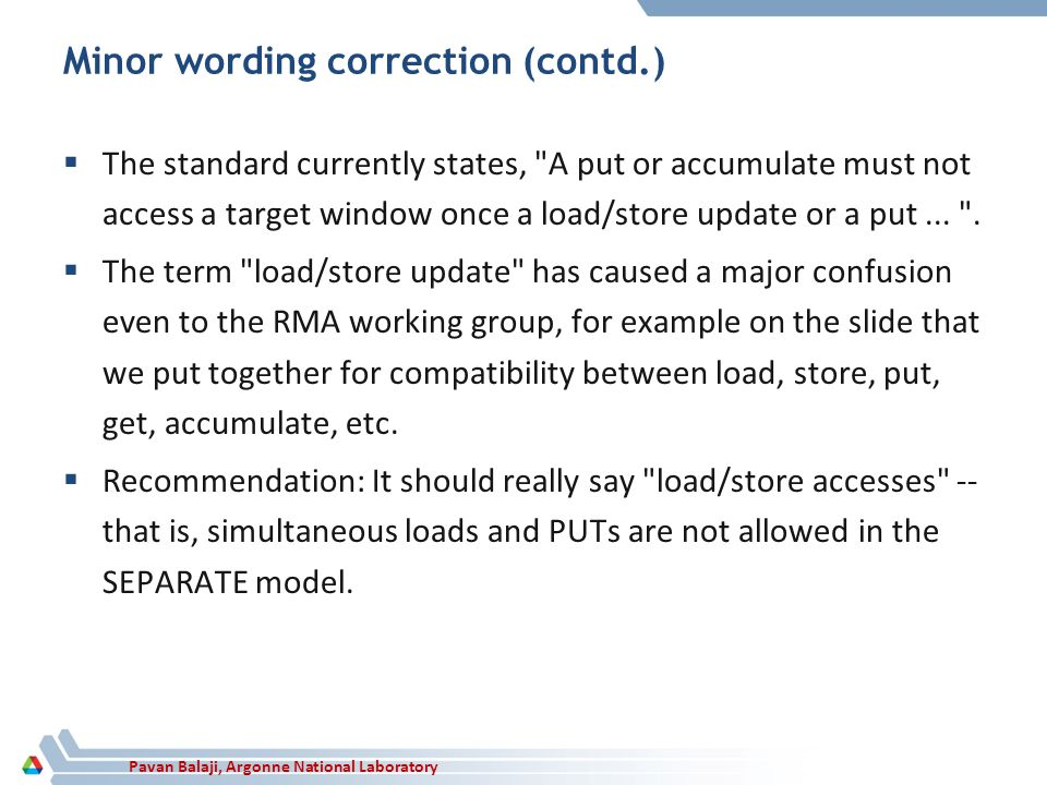 Pavan Balaji, Argonne National Laboratory Minor wording correction (contd.) The standard currently states,